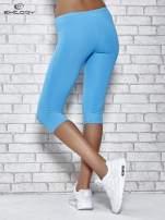 Turkusowe legginsy sportowe termalne z dżetami na nogawkach                                  zdj.                                  2
