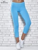 Turkusowe legginsy sportowe z dżetami na dole nogawki