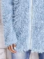Turkusowy futrzany sweter kurtka na suwak                                  zdj.                                  8