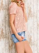 VERO MODA Różowy ażurowy t-shirt