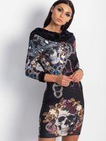 VIA DELLE ROSE Czarna sukienka koktajlowa z nadrukiem                                  zdj.                                  4