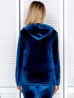 Welurowa bluza damska z diamencikami przy suwaku turkusowa                                  zdj.                                  2