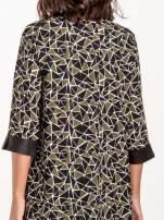 Wzorzysta sukienka mgiełka ze skórzanymi wstawkami                                                                          zdj.                                                                         5