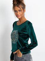 Zielona aksamitna bluza damska z aplikacją                                  zdj.                                  5