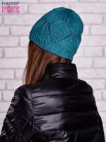 Zielona ażurowa czapka w romby                                  zdj.                                  2