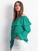 Zielona bluzka w grochy z hiszpańskim dekoltem                                  zdj.                                  3