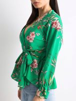 Zielona bluzka w kwiaty z falbaną                                  zdj.                                  1