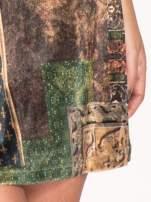 Zielona mini sukienka w patchworkowy wzór                                                                          zdj.                                                                         5