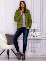 Zielona pikowana kurtka z kapturem                                  zdj.                                  7