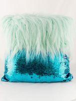 Zielona poduszka z długim włosem i cekinami                                  zdj.                                  3