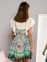 Niebieska sukienka z rękawkami typu motylek                                                                          zdj.                                                                         3