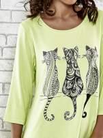 Zielona sukienka damska z nadrukiem kotów                                  zdj.                                  5