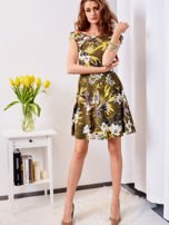 Zielona sukienka w łączkę                                  zdj.                                  4