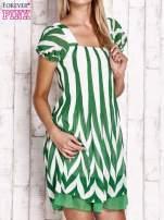 Zielona sukienka w paski z bufiastymi rękawkami