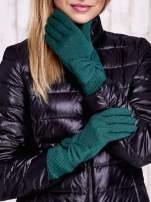 Zielone długie rękawiczki z kokardą i prążkowanym ściągaczem                                  zdj.                                  1