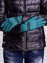 Zielone rękawiczki z napisem COOL i z wywijanym ściągaczem                                                                          zdj.                                                                         2