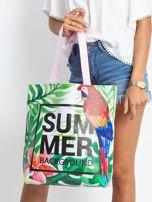 Zielono-różowa torba z egzotycznym nadrukiem                                  zdj.                                  9