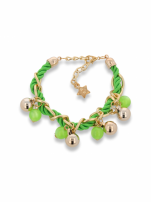 Zielono - złota bransoletka z zawieszkami