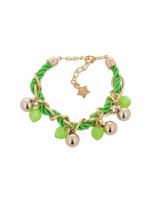 Zielono - złota bransoletka z zawieszkami                                  zdj.                                  2