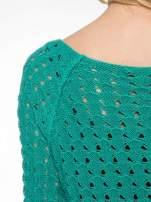 Zielony dziergany sweter z ozdobnymi oczkami                                  zdj.                                  7
