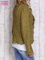 Ecru sweter z wiązaniem                                                                          zdj.                                                                         4