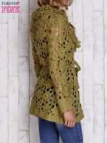 Zielony sweter  z wiązaniem w pasie                                  zdj.                                  5