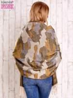 Beżowy szalik w malarskie desenie                                                                          zdj.                                                                         5