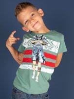 Zielony t-shirt dla chłopca z nadrukiem                                  zdj.                                  1