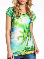 Zielony t-shirt z motywem egzotycznym                                  zdj.                                  5
