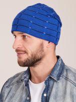Zimowa męska czapka z dzianiny niebieska                                  zdj.                                  2