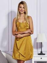 Złota sukienka z drapowaną falbaną                                  zdj.                                  1