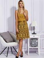 Złota sukienka z koronkową spódnicą                                  zdj.                                  4