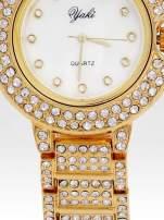 Złoty cyrkoniowy zegarek na bransolecie z ozdobą przy koronce                                  zdj.                                  5