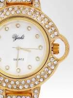 Złoty cyrkoniowy zegarek na bransolecie z ozdobą przy koronce                                  zdj.                                  6