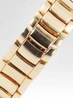 Złoty zegarek damski na bransolecie wysadzany cyrkoniami