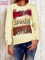 Żółta bluza z napisem GLITTER SPARKLE SHINE                                  zdj.                                  1