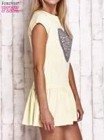 Żółta dresowa sukienka tenisowa z aplikacją serca                                                                          zdj.                                                                         3