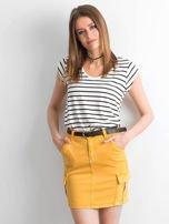 Żółta jeansowa spódnica z kieszeniami                                  zdj.                                  6