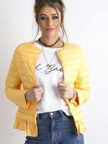 Żółta kurtka przejściowa z falbaną                                  zdj.                                  5