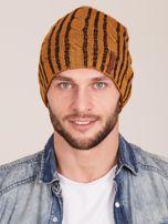 Żółta męska zimowa czapka w warkocze                                  zdj.                                  1
