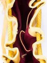 Żółta torebka z plecionymi uchwytami i frędzlami                                  zdj.                                  4