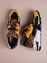 Żółte buty sportowe na podwyższeniu z kolorową podeszwą i motywem w panterkę                                  zdj.                                  1