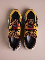 Żółte buty sportowe na podwyższeniu z kolorową podeszwą i motywem w panterkę                                  zdj.                                  2