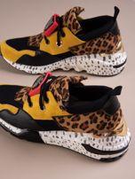 Żółte buty sportowe na podwyższeniu z kolorową podeszwą i motywem w panterkę                                  zdj.                                  3