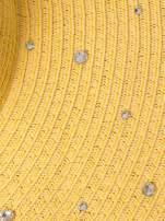 Żółty kapelusz z dużym rondem i dżetami                                  zdj.                                  5