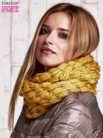 Żółty szalik z lureksową nicia i cekinami