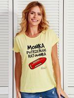 Żółty t-shirt damski MONIKA POTRZEBUJE RATOWNIKA by Markus P                                  zdj.                                  1