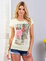 Żółty t-shirt z fotograficznym nadrukiem                                  zdj.                                  1
