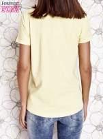 Żółty t-shirt z motywem serca i kokardki                                                                          zdj.                                                                         5