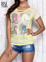 Żółty t-shirt z nadrukiem Mötley Crüe                                  zdj.                                  1